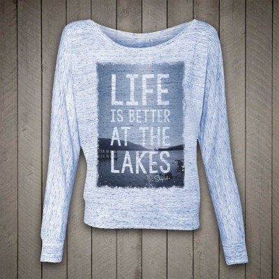 'Life is better at the Lakes' Flowy, off shoulder long sleeve tee by Sheep-ish®