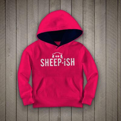 Sheep-ish ® Kids Contrast Hoodie Raspberry/Navy
