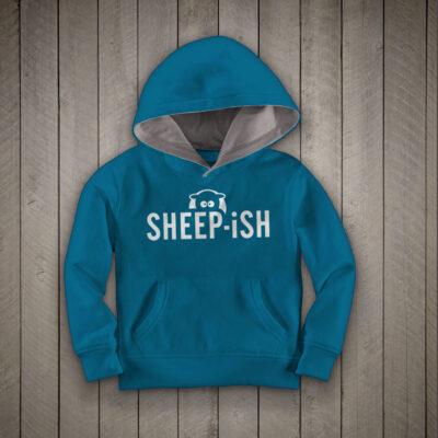 Sheep-ish ® Kids Contrast Hoodie Turquoise/Grey