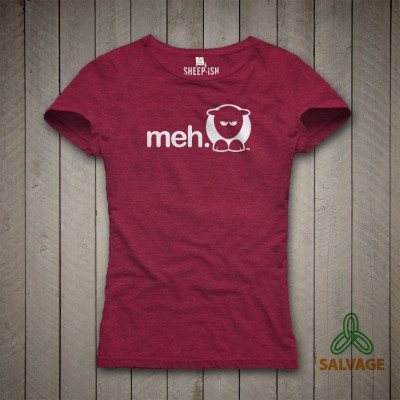 Ladies Slim Fit 'Meh' Salvage™ Recycled/Organic T-shirt Plum