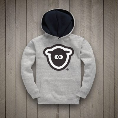 Sheep-ish ® Kids Contrast Hoodie Marl Grey/Navy Logo