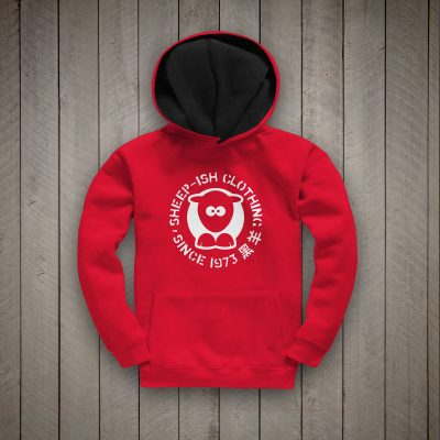 Sheep-ish ® Kids Contrast Hoodie Red/Black 1973