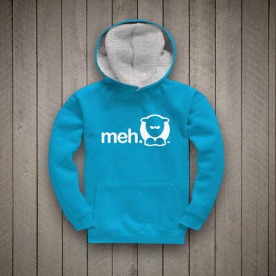 Sheep-ish ® Kids Contrast Hoodie Turquoise/Grey Meh