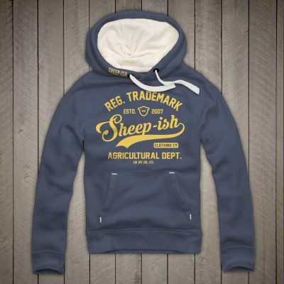 Sheep-ish ® Clothing Agricultural Premium Hoodie in Denim Blue