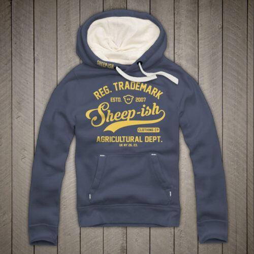 Sheep-ish ® Clothing Agricultural Premium Hoodie in Denim Blue